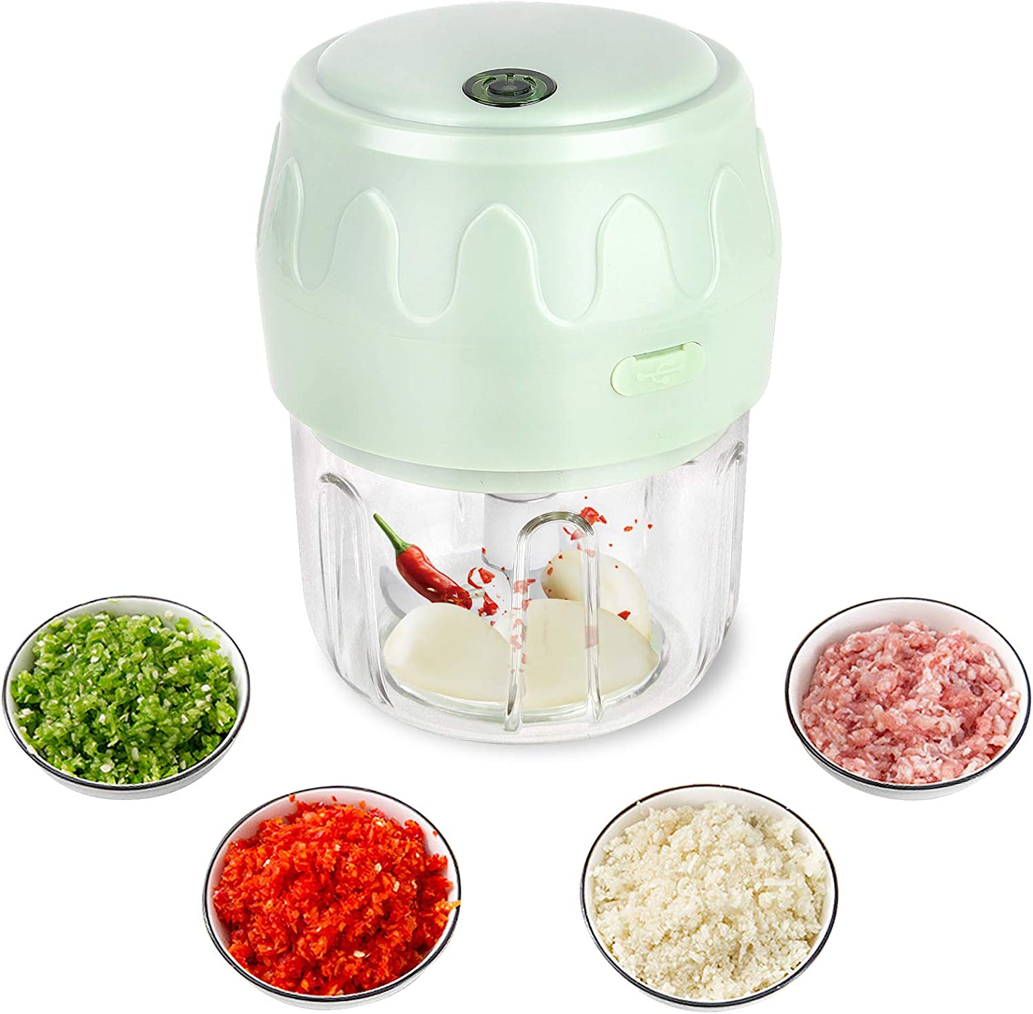 Semlos 250ML Mini Electric Garlic Chopper, Wireless Portable Food Processor Mincer Blender Mixer, Fits for Cutter Vegetables, Meat, Fruits, Great Kitchen Blender Gadgets(Green)
