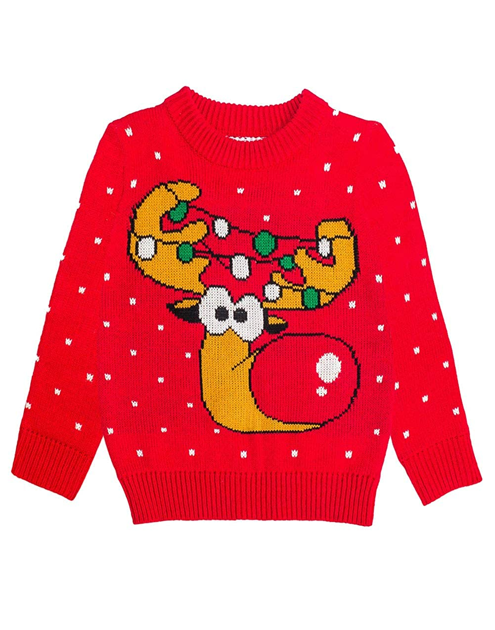 Tstars Ugly Christma Sweater Cute Funny Reindeer for Kids Boys Girls Toddler GaMPt0ag5d