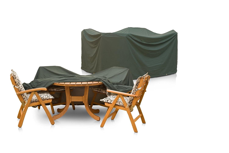 Eigbrecht 146242 Wood Cover Abdeckhaube Schutzhülle mit Abhang für Sitzgruppe grün oval 210x250x90cm