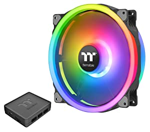 Thermaltake Riing Trio 200mm 16.8 Million RGB Color (Alexa, Razer Chroma) Software Enabled 60 Addressable LED 11 Blades Hydraulic Bearing Case/Radiator Fan, Single Fan Pack, CL-F083-PL20SW-A