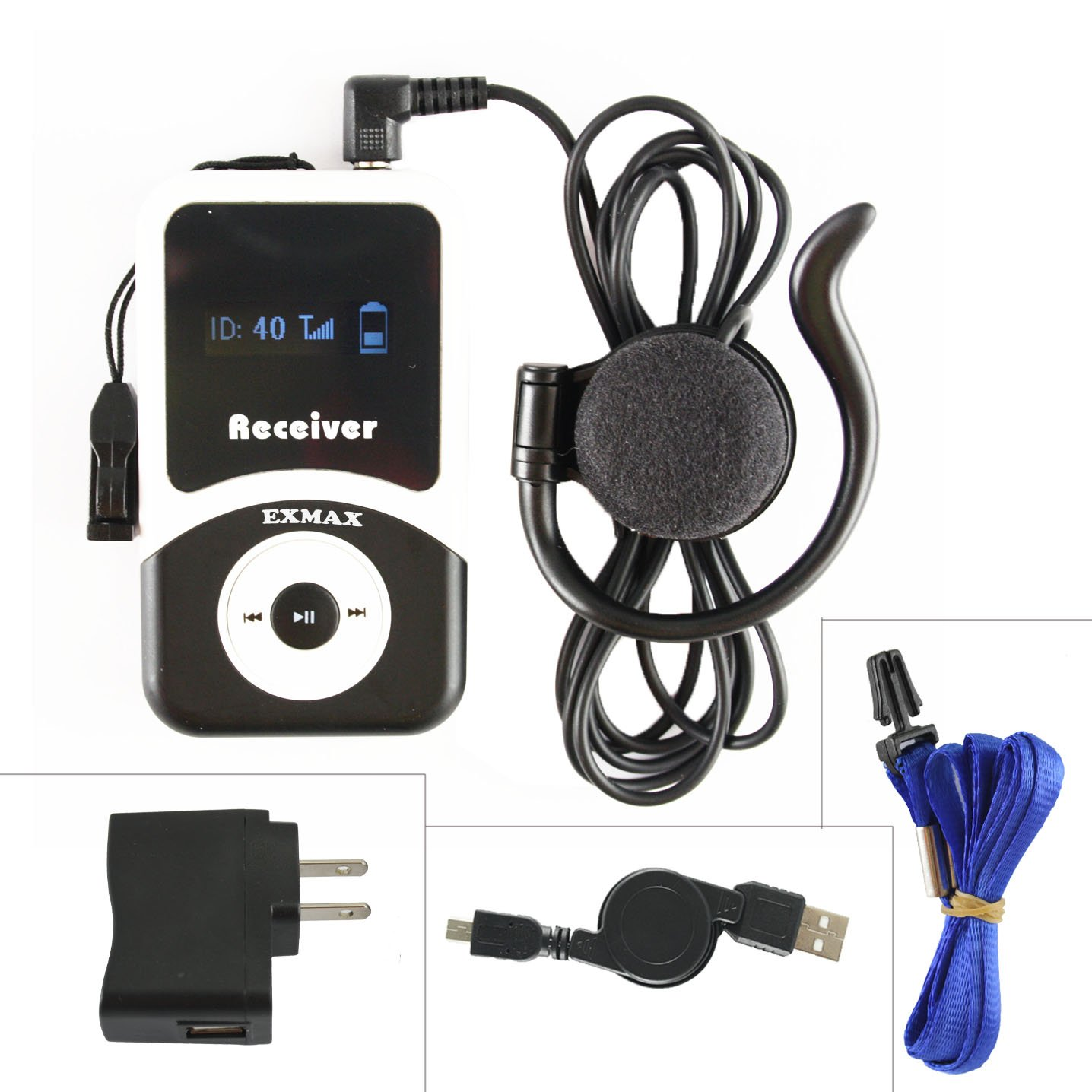 EXMAX ATG-100T 72-76MHz Receiver for Wireless Tour Guide Monitoring Acoustic Audio Voice Transmission System Earphone For Church Interpreting Teaching Conference Travel Museum Translation(1 Receiver)