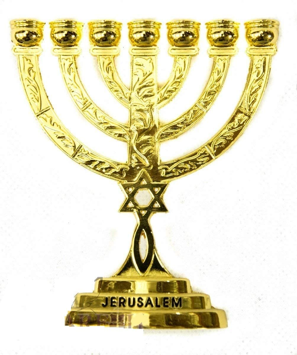 Nickel gold coloured Seven Branch Menorah Candle holder candle Stand with Star of David