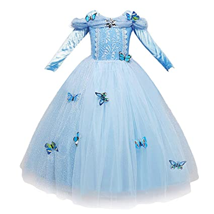 94d0b299c NNDOLL Vestido de Cenicienta Trajes de Carnaval niña niña Princesa Vestido  Azul Claro 870 (140)