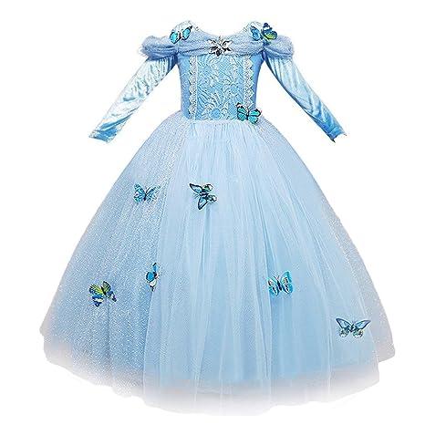 diventa nuovo codice promozionale moda più desiderabile NNDOLL Cenerentola Vestito Costumi Carnevale Bambina Bimba Principessa  Azzurro Abito 870 (130 (5-6 Anni)