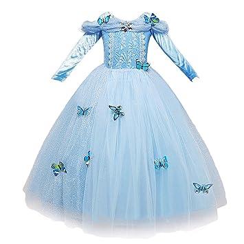 NNDOLL Vestido de Cenicienta Trajes de Carnaval niña niña Princesa Vestido Azul Claro 870 (140)