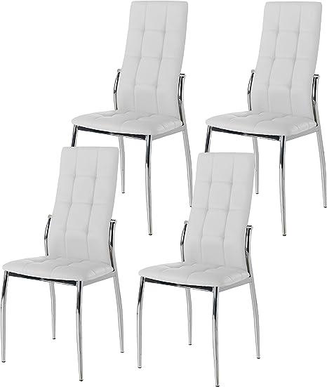 Miroytengo Pack 4 sillas Comedor Salon Blancas Laci Polipiel ...