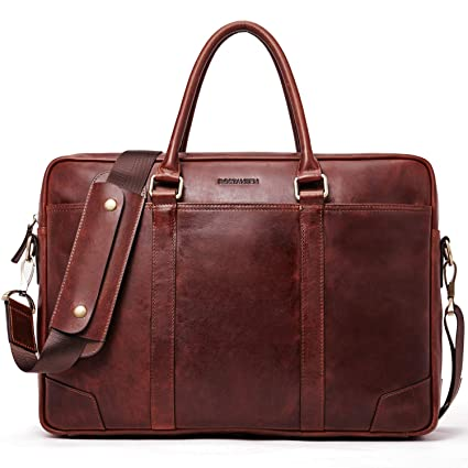de1a880fa38c BOSTANTEN Leather Messenger Bag Business Briefcase 15.6 inch Laptop Office  Shoulder Travel Bag for Men Brown Father's Days Gift