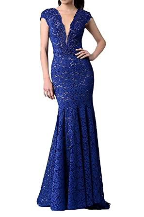 Nina Ding Sexy Mermaid Lace Prom Dress V-Neck Backless Cap Sleeves Evening Party Gowns