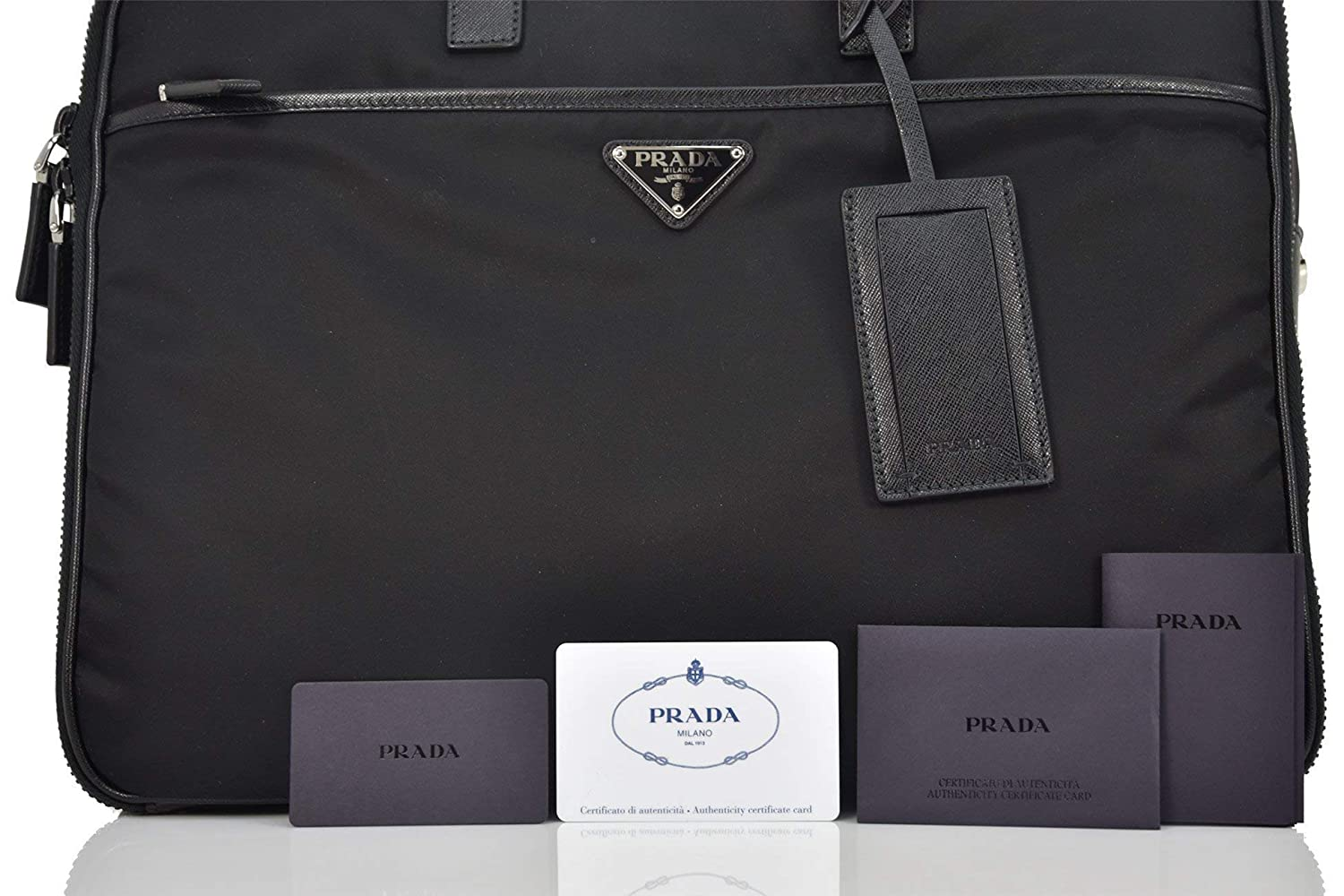 335bf52e0f6a Prada briefcase attaché case laptop pc bag Nylon saffiano black  Amazon.co. uk  Shoes   Bags