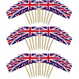 Union Jack Cocktail Stick Flags X 50 / Queens 90th Birthday / Jubilee by Rocking Party
