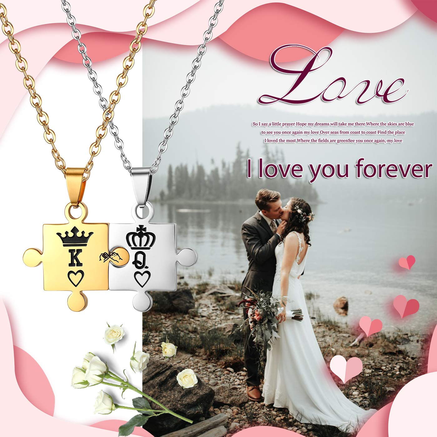 JewelryWe 2PCS Couples Necklace Delicate Matching Puzzle Crown King /& Queen Pendant Stainless Steel Relationship Necklace Tag for Men Women Free Engraving