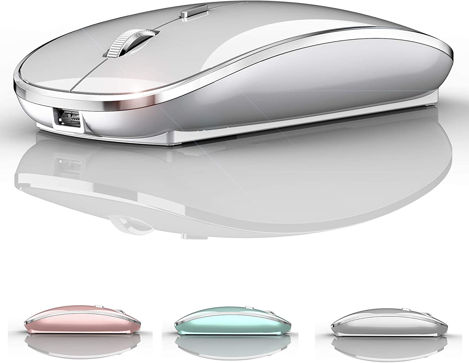 Bluetooth Mouse for Laptop Bluetooth Wireless Mouse for Mac MacBook Pro iPad Chromebook MacBook Air Silver