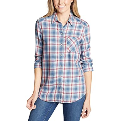 b787441bb1 Eddie Bauer Women s Tranquil Boyfriend Shirt - Plaid at Amazon Women s  Clothing store