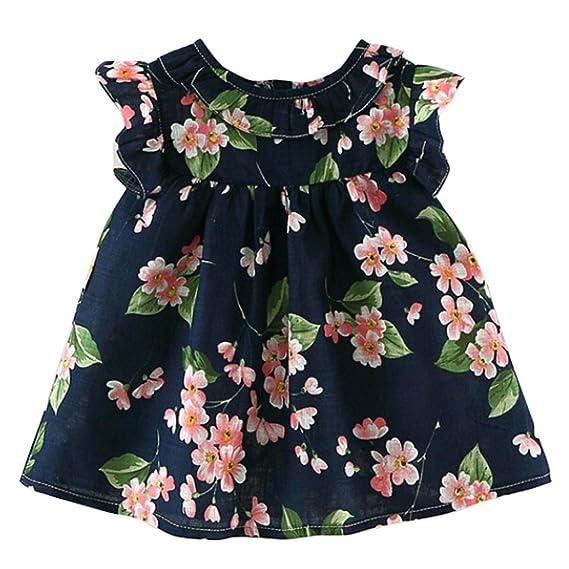 Niña Vestido Liquidación,Beikoard Precioso Toddler Girls Summer de flores sin mangas vestido de novia