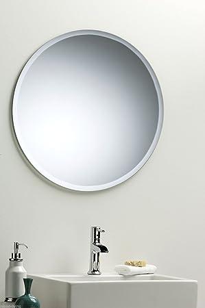 Round Bathroom Wall Mirror Modern Stylish With Bevel Plain Size