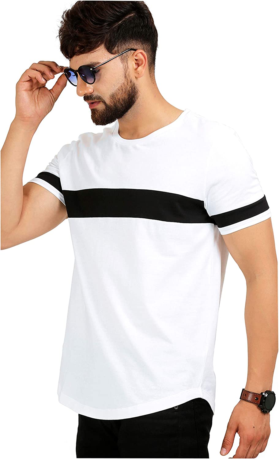 AELOMART Men's Cotton T Shirt-(Amt1072-P_White)