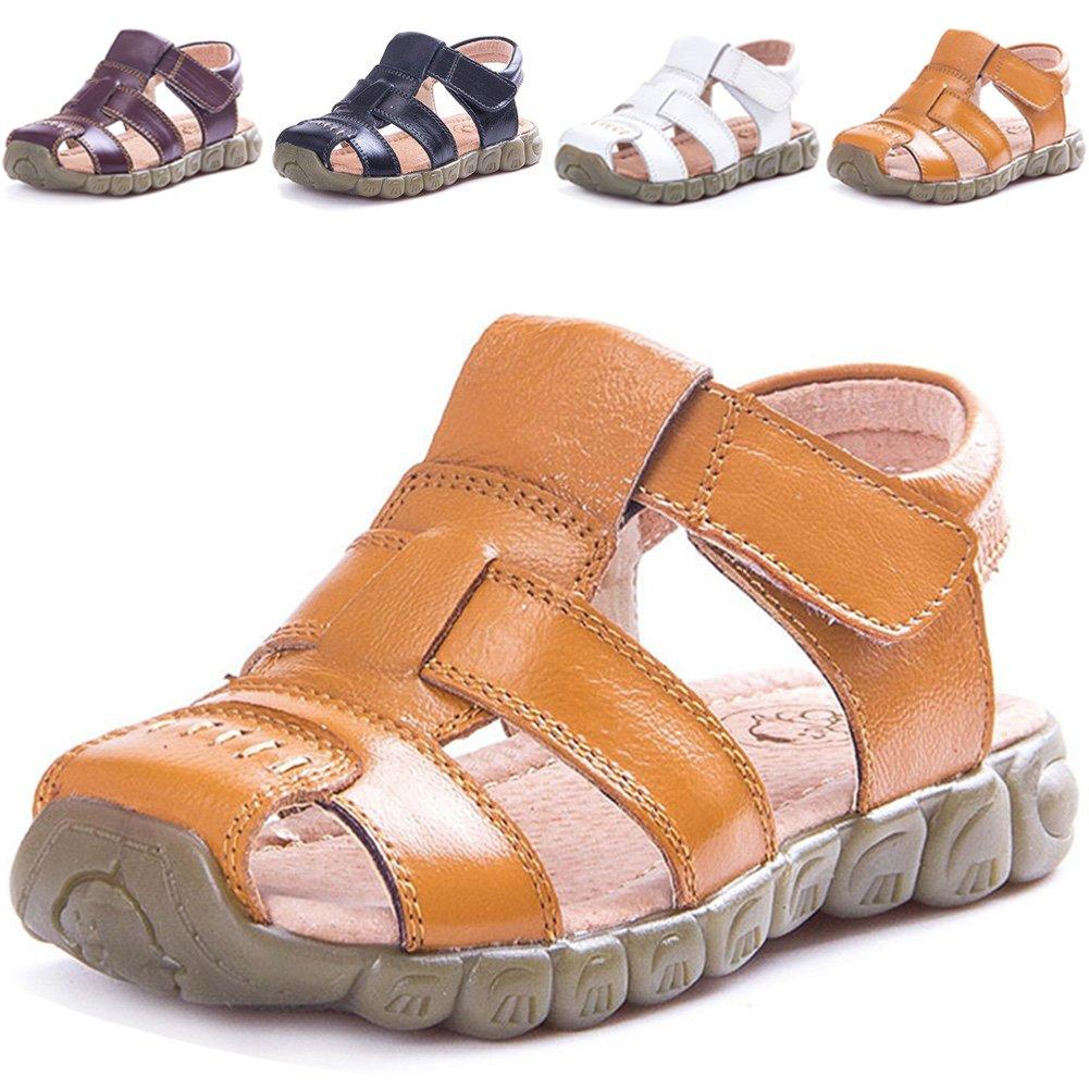 LONSOEN Leather Outdoor Sport Sandals,Fisherman Sandals For Boys(Toddler/Little Kids),Yellow,KSD001 CN30