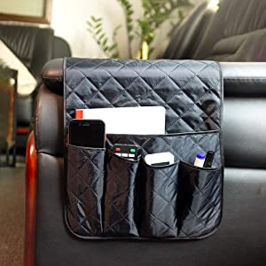 Sofa Chair Couch Armrest Organizer, Bunk Bed End Table 5 Pockets Anti-Slip Armchair Storage Bag, Fits for Tablet, Phone, Pad, Book, Magazines, TV Remote Control, Drinks, Snacks, Glasses