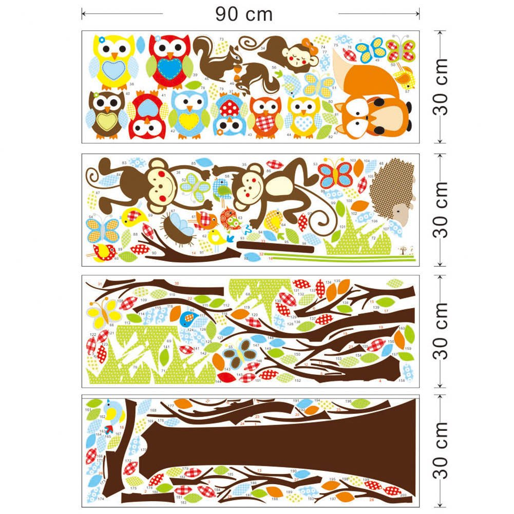 Forest woodland animals owl birds hanging monkey squirrel fox forest woodland animals owl birds hanging monkey squirrel fox hedgehog colorful tree art wall stickers decal for home decorations removable repositionable amipublicfo Images