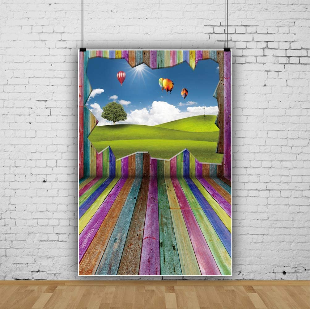 YEELE 8x10ft Outdoor Hot Air Balloon Scenery Backdrop Colorful Wooden Floors Interior Photography Background Bridal Shower Wedding Birthday Photobooth Kids Adults Artistic Portrait Photo Props