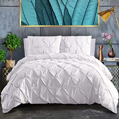 ASHLEYRIVER 3 Piece Luxurious Pinch Pleated Duvet Cover with Zipper & Corner Ties 100% 120 g Microfiber Pintuck Duvet Cover Set(Queen White)