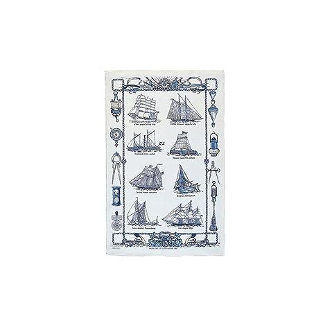 Barcos de vela toalla de té de lino