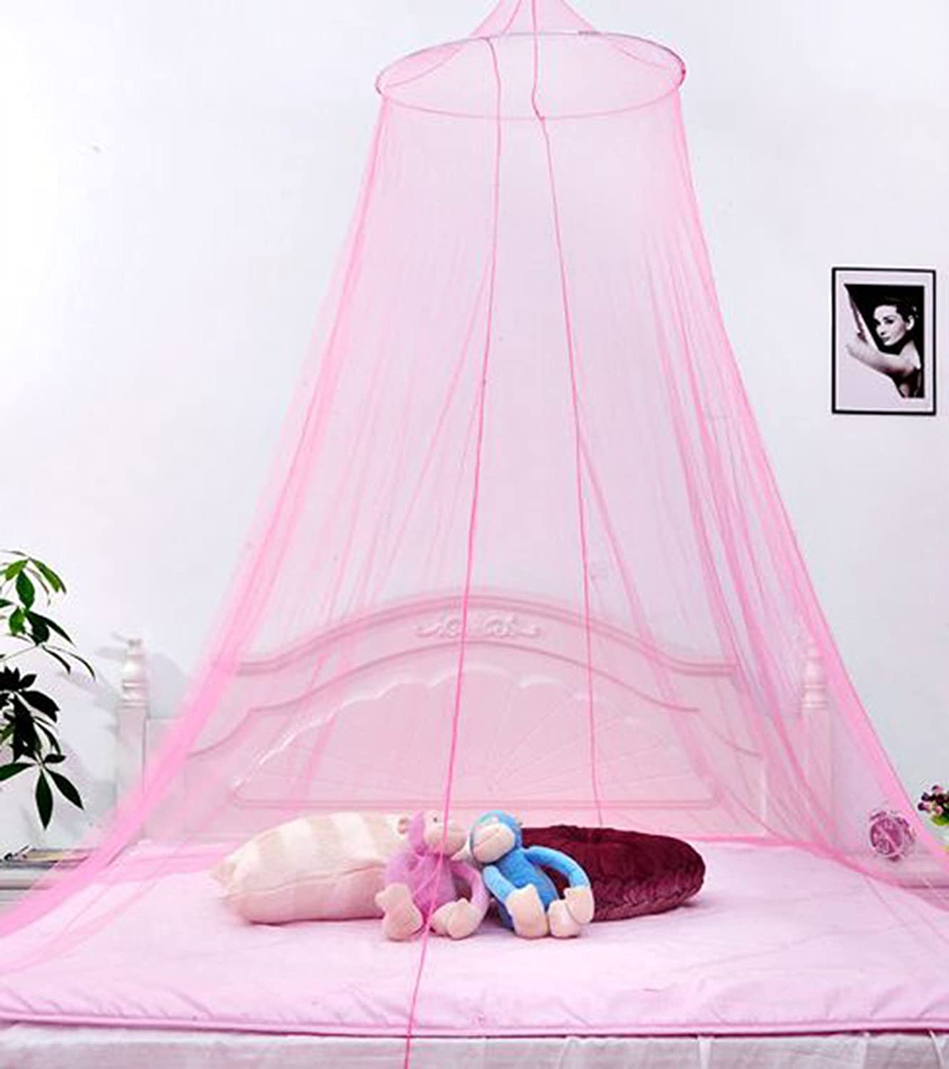 BOW Mosquito Net for Double Single Bed Netting Curtains Canopy With Internal Loop Round Fly Screen for Home& Travel (blue)