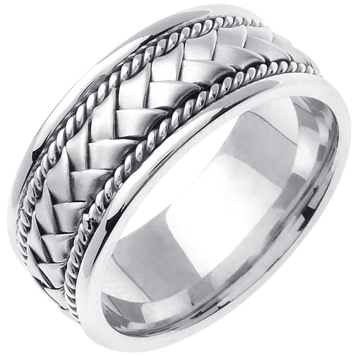 14K White Gold Braided Basket Weave Men s fort Fit Wedding Band