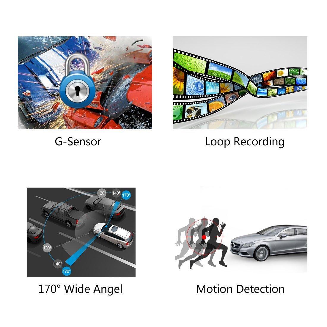 Amazon.com: eDealMax 2.4 Full HD 1080P 170 coche granangular la conducción del Video de la videocámara de apoyo de visión nocturna de detección de ...