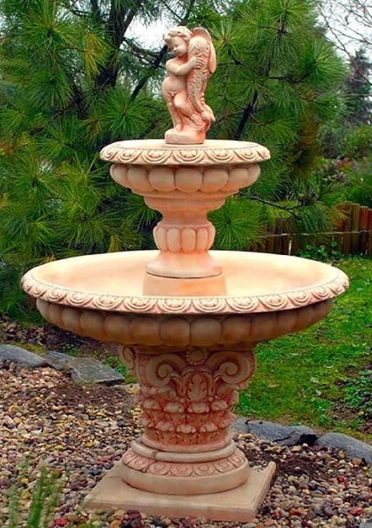 Casa Padrino Fuente de Jardín Art Nouveau Niño con Pez Dorado Beige/Rojo Ø 114 x H. 171 cm - Fuente Garden Deco Fuente de Primavera: Amazon.es: Hogar