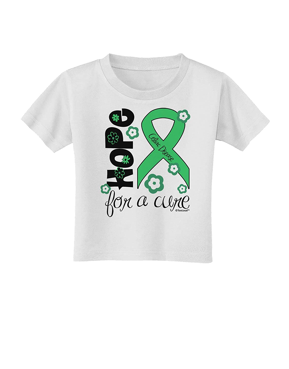 Flowers Toddler T-Shirt Light Green Ribbon Celiac Disease TooLoud Hope for a Cure
