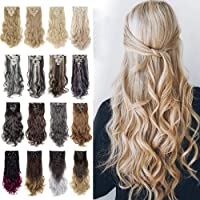 "8Pcs 18Clips 24"" Long Thick Straight Curly Wavy Full Head Hairpieces Clip in Double Weft Hair Extensions 100% Japanese Kanekalon Synthetic Fiber 160g For Girls (Curly, 613/Blonde)"