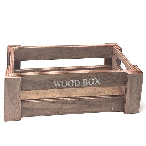 C1 Caja de madera Vintage color salmón 7 x 22 x 12.cm