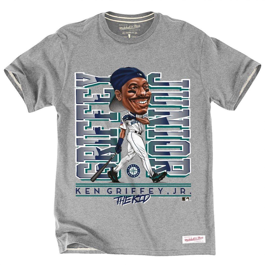 promo code 4080b c1115 Mitchell & Ness Ken Griffey Jr. Seattle Mariners MLB Caricature Men's  T-Shirt