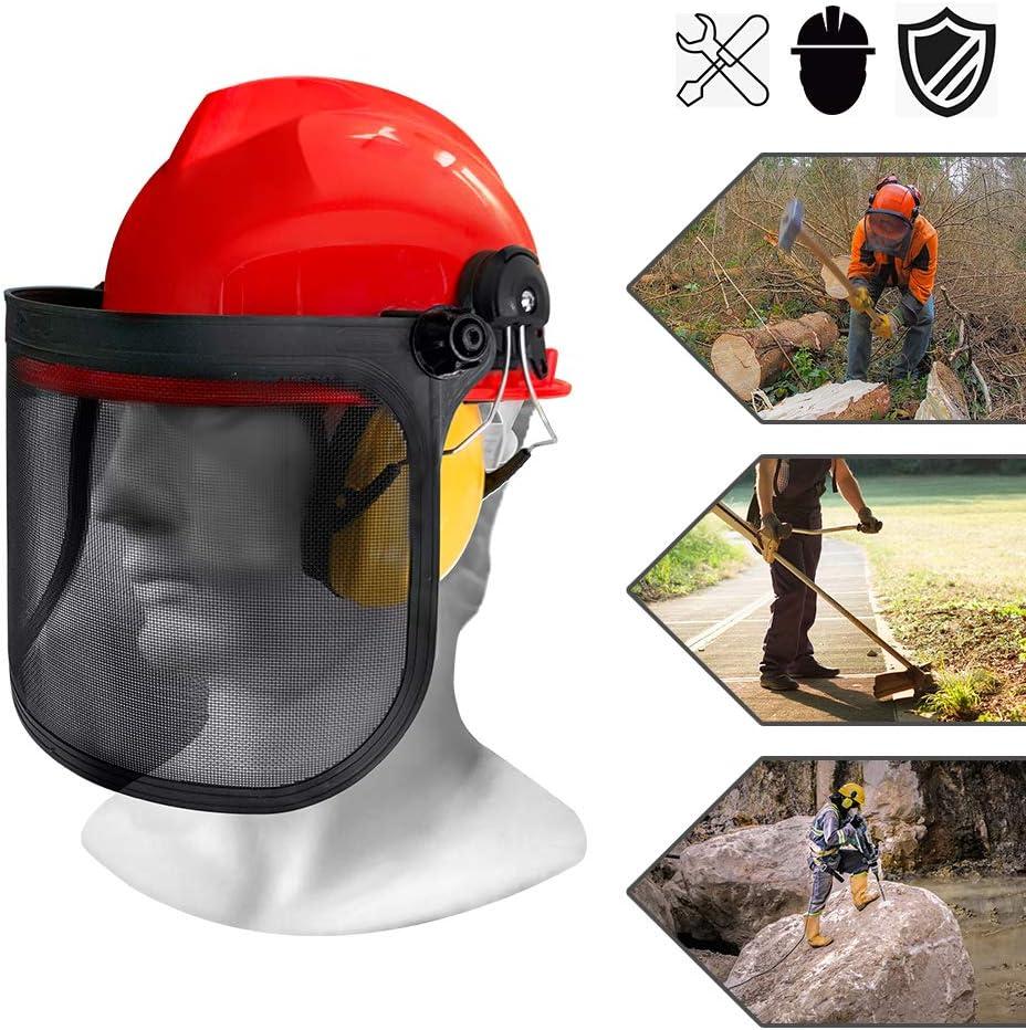 Froadp – Máscara de protección para cortacésped con Orejeras y Visera de Malla Plegable de Metal, protección para la Cabeza, protección Ocular, Casco Forestal para el Lado Forestal NRR 24dB