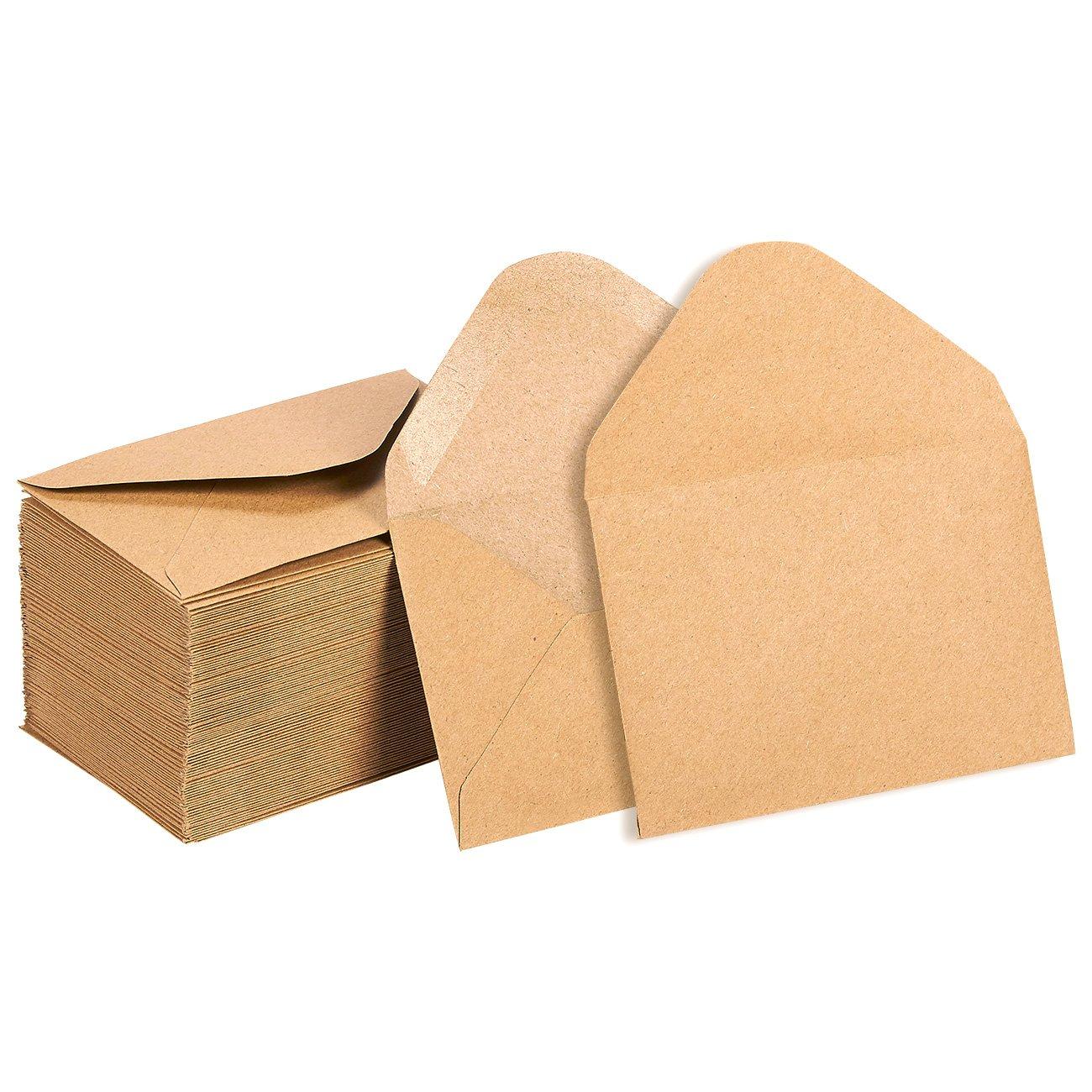 100 Pack Kraft Mini Envelopes - Gift Card Envelopes - Business Card Envelopes - Value Pack Classic Flap Envelopes - 4.1 x 2.75 inches - 100 Count, Kraft