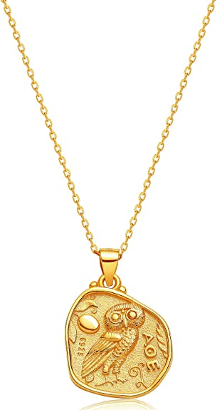 GiftJewelryShop Ancient Style Silver Plate Olympics Fencing Competition Owl Charm Pendant Necklace