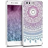 kwmobile Funda para Huawei Honor 8 / Honor 8 Premium - forro de TPU silicona cover protector para móvil - Case Diseño Sol hindú azul rosa fucsia transparente