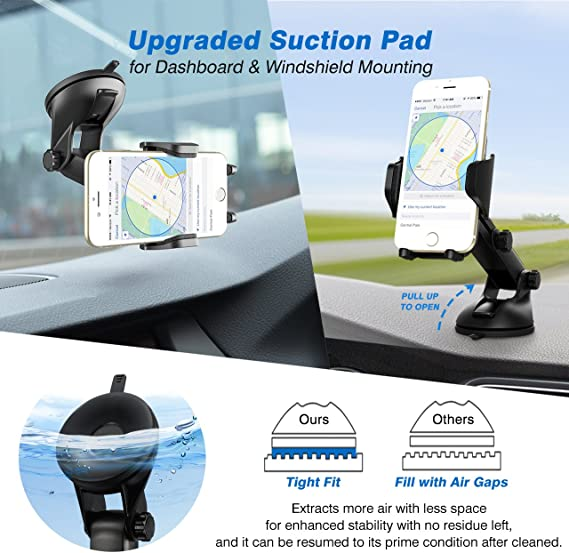 Dashboard Universal Smartphone Car Holder Galaxy S5//S6//S7//S8 Huawei and More LG Mobile Clip Stand HUD Design Compatible for iPhone X//8//7//7P//6s//6P//5S ClipGrip Cell Phone Car Mount Google