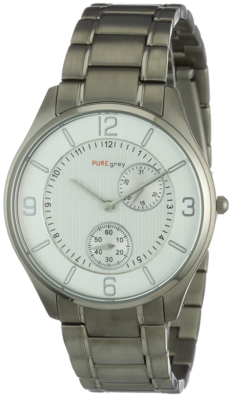 Pure Grey Watches 1671,9091 - Reloj analógico de Cuarzo para Hombre, Correa de Titanio