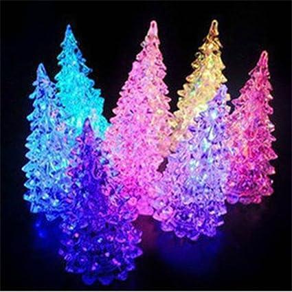 Ddu Acrylic Christmas Tree Led Night Light Lamp Color Changing Decoration Gift