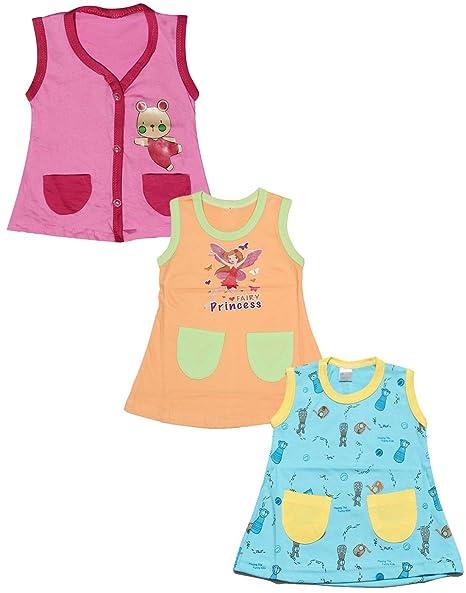 61215d5b1 Babeezworld Regular Daily Wear Summer Baby Girl Cotton Half Sleeves Cut  Sleeve Sleeveless Vest Jhabla A line Frock Dress (Kids Pack Of 3):  Amazon.in: Baby