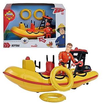 Sam El Bombero - Fireman Sam - Vehículo Bote Salvavidas Neptun con Sirena y Carácter de