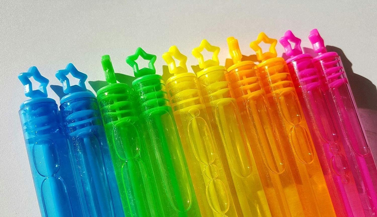 Perfect Moments 10 Mini Bubbles Wands NEON Rainbow Stars Childrens Party Birthday Bag fillers