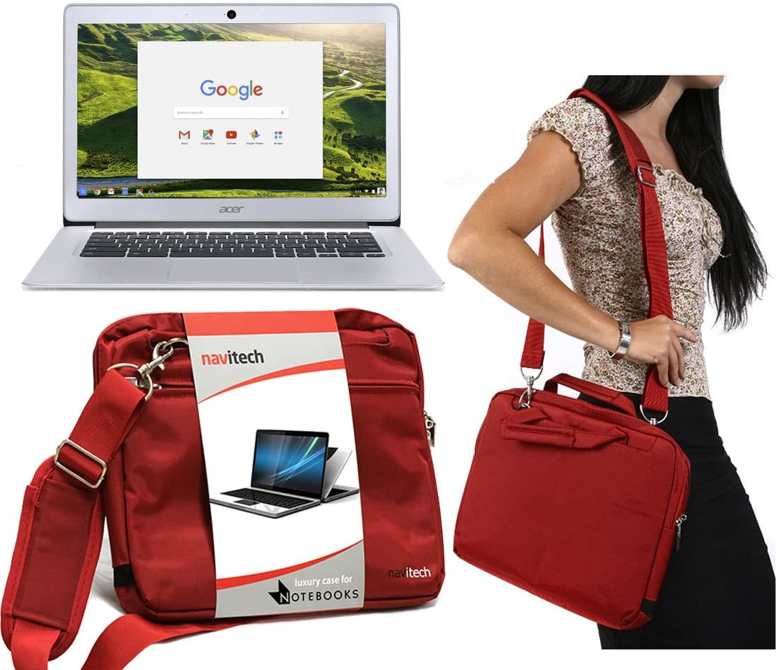 Navitech Red Sleek Premium Water Resistant Shock Absorbent Carry Bag Case Compatible with TheAcer TravelMate Spin B1 11