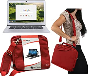 """Navitech Red Sleek Premium Water Resistant Shock Absorbent Carry Bag Case Compatible with TheAcer TravelMate Spin B1 11"""""""