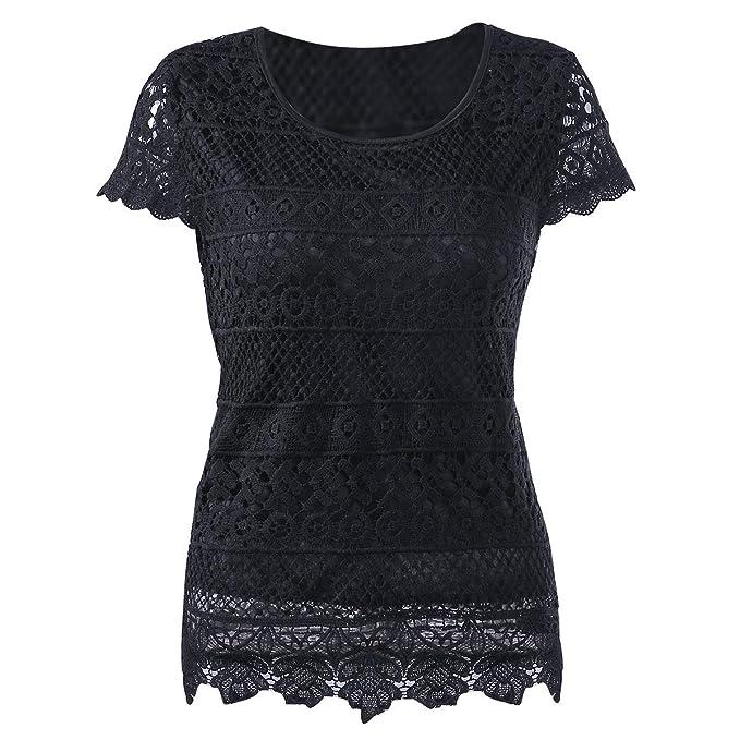 af6fdcc9c6a6ac KMHZ Women's Short Sleeve Lace Blouse Elegant Sheer Chiffon Tops Shirt Lace  Splice Peplum Fancy Tops