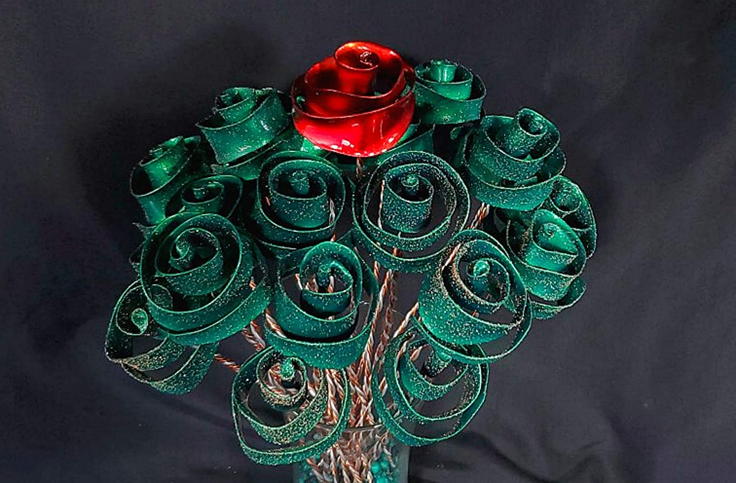 1 Stardust Green Forever Copper Rose #1599 I Love You Steampunk Housewarming Anniversary Wedding Valentines Mothers Day Christmas