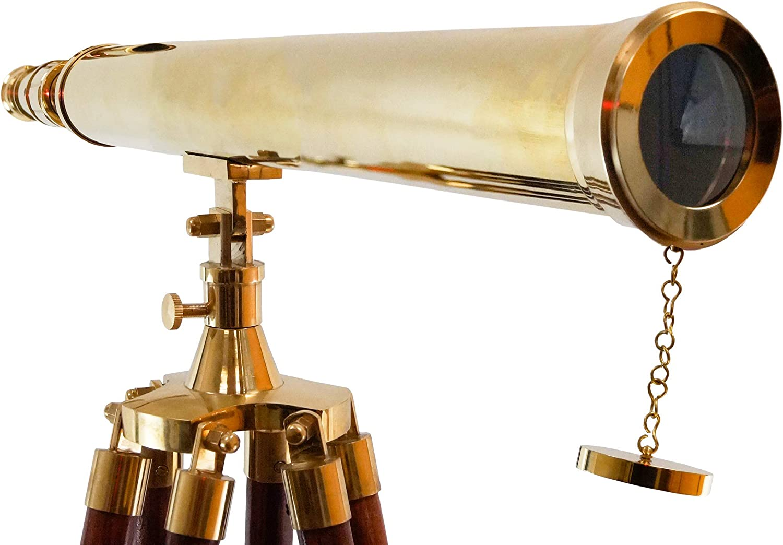 Handcrafted Brass Pirate Spyglass Nautical Explorer Telescope Black Leather