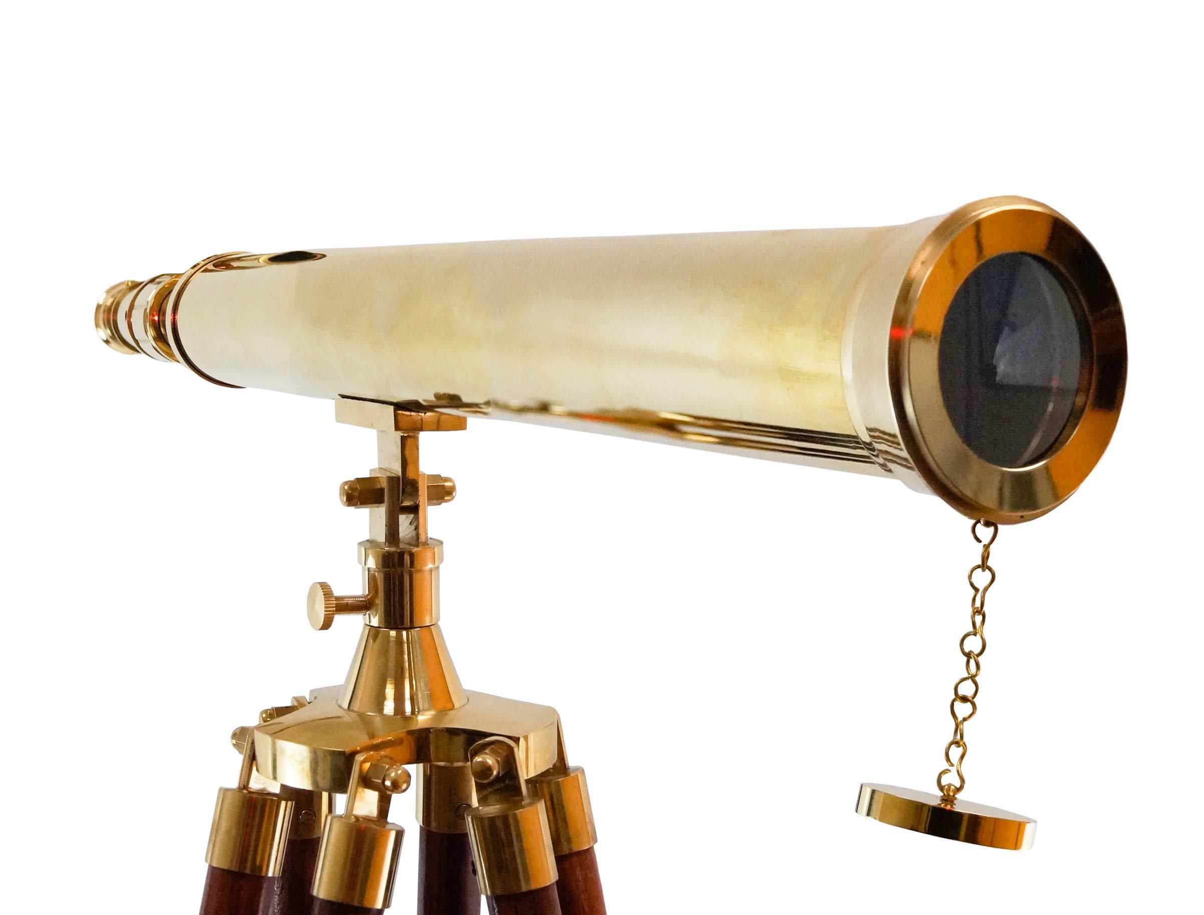 Nautical Collection's 64'' Decorative Floor Standing Tripod Brass Telescope Adjustable Size Sky Watcher (Harbor Master Telescope)